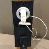 Etui à charger téléphone croco bleu marine support
