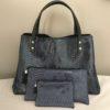 sac cabas trio croco bleu marine