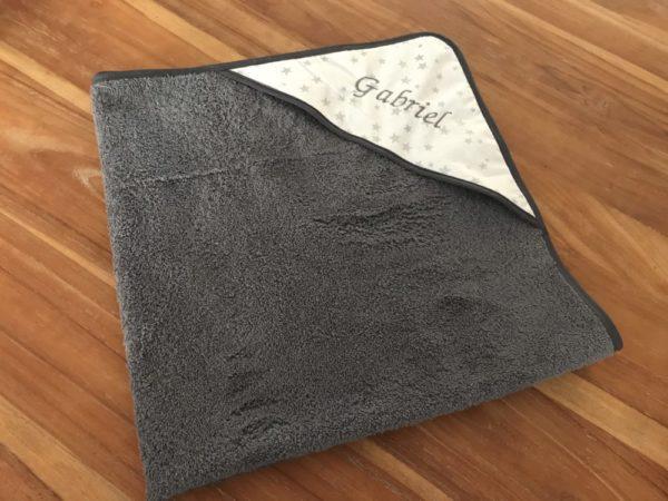 cape de bain plié carré gris anthracite étoiles