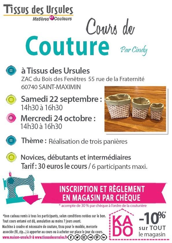 Affiche 22.09 et 24.10 panières cours de couture