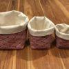 Lot de 3 panières juanola rouge et blanc