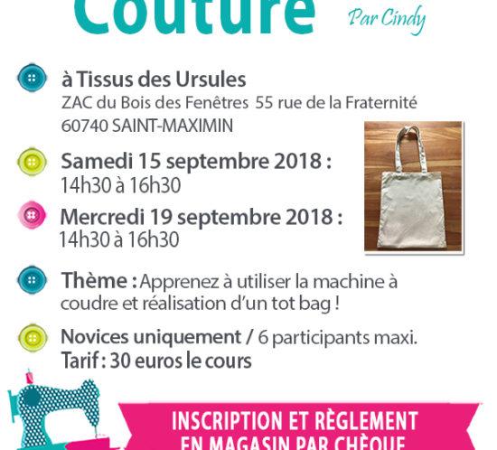 cours de couture Affiche 15.09 et 19.09