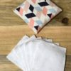 Etui voyage + 7 lingettes rectangles bleu saumon rose