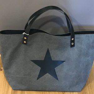 grand sac toile épaisse gris étoile