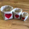 lot 3 panières coeur rouge