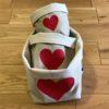 lot de 3 panières coeur rouge emboitées