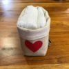 panière + 14 lingettes personnalisée coeur rouge